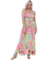HOT LAVA Leilani Tahiti Tropical Palm Leaf Split Maxi Dress Long Dress - Pink