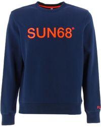 Sun68 F31110 sweat-shirts Bleu Sweat-shirt