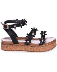 10b22a316758 Tory Burch Melody Pearly Ankle-wrap Flat Sandal in Black - Lyst