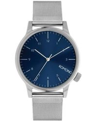 Komono Horloge Winston Royale Silver - Blue - Blauw