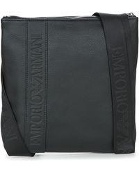 Emporio Armani - Webbing Medium Flat Messenger Men's Pouch In Black - Lyst