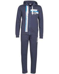 EA7 Trainingspak 8 Lines M T-suit Ho Fz Ch Coft - Blauw