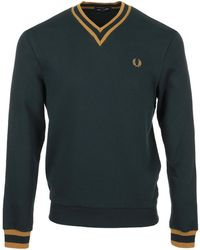 Fred Perry Tipped Loopback Sweatshirt - Azul