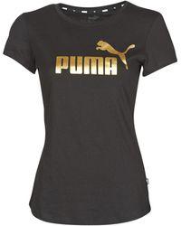 PUMA T-shirt Korte Mouw Ess+ Metallic Tee - Zwart
