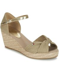 f3417e7eb6b Tommy Hilfiger - Iconic Elba Metallic Canvas Women s Sandals In Beige - Lyst