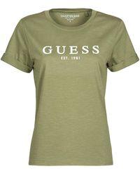 Guess ES SS 1981 ROLL CUFF TEE T-shirt - Vert