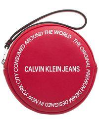 Calvin Klein Sac à main Pochette cercle sculpté red - Rouge