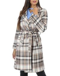 La Modeuse Manteau droit beige ceinturé motif tartan Trench - Multicolore