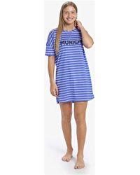 Munich Chemise de nuit décontractée à manches courtes Pyjamas / Chemises de nuit - Bleu