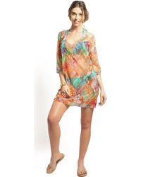 Pain De Sucre - Short Beach Dress V-neckline Nessa , Delire Women's Tunic Dress In Brown - Lyst