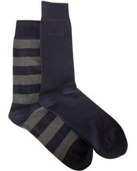 GANT - Men's 2 Pack Bar Stripe Socks, Multicoloured Men's Stockings In Multicolour - Lyst