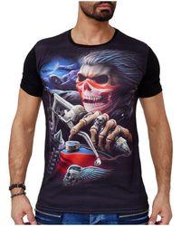 Monsieurmode T-shirt tete de mort T-shirt 1605 noir T-shirt
