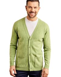 Woolovers Lambswool V Neck Cardigan - Green