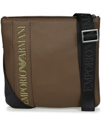 Emporio Armani - Webbing Small Flat Messenger Men's Pouch In Brown - Lyst