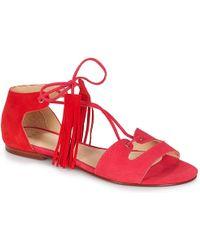 IKKS SANDALE PLATE POMPON femmes Sandales en rouge
