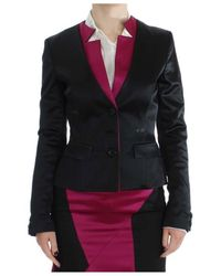 Exte Black Pink Two Piece Suit Skirt Blazer