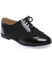 La Modeuse Richelieus bi-matière noirs Chaussures