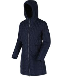 Regatta Parmenia Insulated Quilted Hooded Parka Jacket Blue Coat