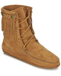 Minnetonka - Double Fringe Tramper Boot Women's Mid Boots In Brown - Lyst