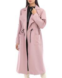 La Modeuse Veste longue rose à col revers Manteau