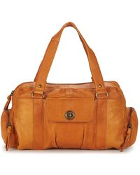 Pieces Handtas Totally Royal Leather Small - Bruin