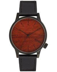 Komono Horloge - Winston Black Wood - Rood