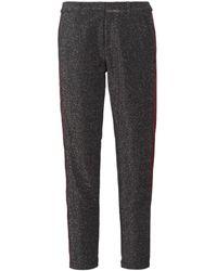 Maison Scotch Broek Tapered Lurex Pants With Velvet Side Panel - Grijs