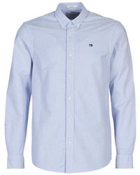 Scotch & Soda Overhemd Lange Mouw Nos Oxford Shirt Relaxed Fit Button Down Collar - Blauw