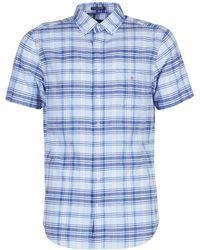 GANT Overhemd Korte Mouw Blue Pack Madras Reg - Blauw