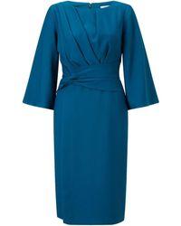 Jacques Vert Pleated Waist Detail Lined Dress - Green