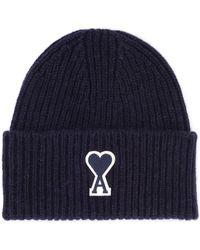 AMI Cappellino in lana blu hommes Bonnet en bleu