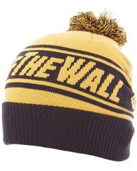 Vans - Gorro Off The Wall Pom Pom Beanie Amarillo Y Negro Women's Beanie In Yellow - Lyst