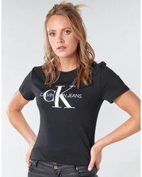 Calvin Klein Camiseta CORE MONOGRAM LOGO REG FIT - Negro