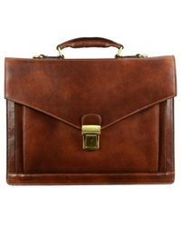 Time Resistance The Magus Men's Briefcase In Brown