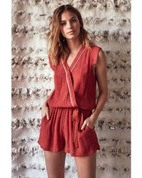 60fb709f34 French Connection Holiday Poppy Silk Playsuit in Green - Lyst