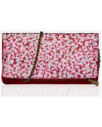 Maison Lurex Pochette Pochette pliable tissus précieux Lurex ELEONORE ETE - Rouge