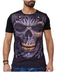 Monsieurmode T-shirt tête de mort T-shirt 1597 noir T-shirt