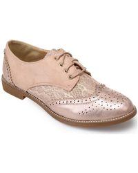 La Modeuse Derbies roses avec dentelle Chaussures - Métallisé