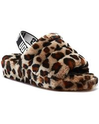 UGG Fluff Yeah Womens Leopard Slippers Slippers - Brown