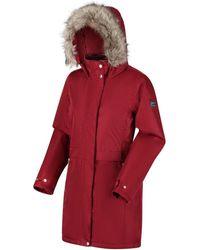 Regatta Lexis Waterproof Insulated Fur Trimmed Hooded Parka Jacket Red Coat