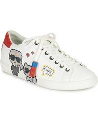 Karl Lagerfeld Lage Sneakers Kupsole Ii Pixel Pair Lace - Wit
