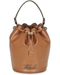 Karl Lagerfeld Handtas K/signature Bucket - Bruin