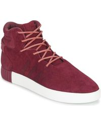 lyst adidas tubulare invasore scarpe da uomo (high top formatori) in rosso