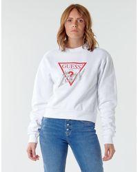 Guess Felpa Icon Fleece - Bianco