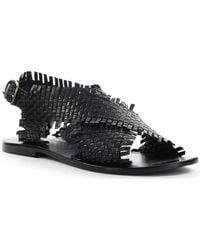 Strategia - Sandales Sandale Plate Tressé Noir - Lyst
