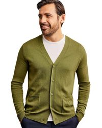 Woolovers Cashmere And Merino V Neck Cardigan - Green
