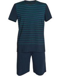 Lisca Pantalones cortos de pijama camiseta Hypnos azul Hombres