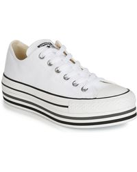 Converse Chuck Taylor Sneakers Met Plateauzool - Wit