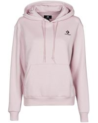 Converse Jersey WOMENS EMBROIDERED STAR CHEVRON PULLOVER HOODIE BB - Morado