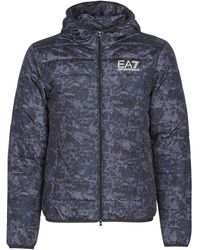 EA7 Donsjas Train Graphic Series M Jacket Hoodie All Over Camou - Grijs